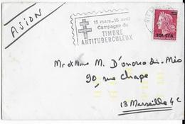 REUNION - 1970 - OBLITERATION MECANIQUE - ENVELOPPE Par AVION De ST DENIS => MARSEILLE - TIMBRE ANTITUBERCULEUX - Reunion Island (1852-1975)