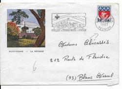 REUNION - 1967 - OBLITERATION MECANIQUE - ENVELOPPE Par AVION De ST DENIS => BLANC MESNIL - CROIX-ROUGE - Reunion Island (1852-1975)