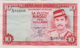 1986 BRUNEI TEN DOLLARS NOTE IN VERY NICE CRISP COLLECTIBLE GRADE. - Brunei
