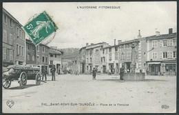 63 ST REMY SUR DUROLLE ( PUY- DE- DÔME ) RARE.. ANIMEE...PLACE DE LA FONTAINE.. UNIFORME.. EPICERIE STEPHANOISE...C2259 - France