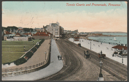 Tennis Courts & Promenade, Penzance, Cornwall, 1912 - Valentine Postcard - Other