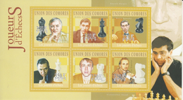 Comores  2010  Famous Chess Champions  Viswanathan Anand Of India And Other Players  6v  MNH  S/S  # 93362 - Chess