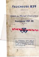 ADDITIF AU MANUEL INSTRUCTIONS FAUCHEUSE PEF 22- MASSEY FERGUSON-TRACTEUR MATERIEL AGRICOLE- - Documents Historiques