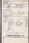 Koenigl. Bayer Staatseisenbahnen Frachtbrief Süddeutsche Eisengesellschaft NÜRNBERG Hptbhf. 1910 PEGNITZ (2 Scans) - Historische Dokumente