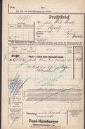 Koenigl. Bayer Staatseisenbahnen Frachtbrief PAUL HAMBURGER (Erased) NÜRNBERG 1905 PEGNITZ (2 Scans) - Historische Dokumente