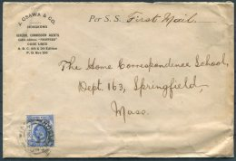 1914 Hong Kong 10 Cent J. Osawa & Co. Cover - The Home Correspondence School, Springfield, Mass. USA - Covers & Documents