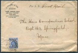 1914 Hong Kong 10 Cent J. Osawa & Co. Cover - The Home Correspondence School, Springfield, Mass. USA - Hong Kong (...-1997)