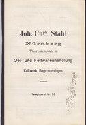 Koenigl. Bayer Staatseisenbahnen Frachtbrief JOH. CHPH. STAHL, NÜRNBERG-OSTBHF. 1905 PEGNITZ (3 Scans) - Historische Dokumente