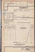 Koenigl. Bayer Staatseisenbahnen Frachtbrief LOTZBECK & Cie Schnupftabak NÜRNBERG Rang.Bhf. 1910 PEGNITZ (2 Scans) - Historische Dokumente