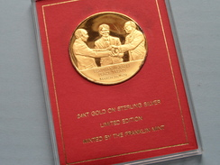 EGYPTIAN / ISRAELI PEACE TREATY EYEWITNESS MEDAL ( Franklin Mint ) Lim. Edit. 1979 ( 24 Kt Gold On Sterling Silver ) ! - Elongated Coins