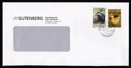 Liechtenstein: Cover, 1994, 2 Stamps, Badger, Animal, Basket, Sent By Gutenberg Printing (traces Of Use) - Liechtenstein