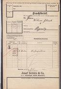 Koenigl. Bayer Staatseisenbahnen Frachtbrief JOSEF SCHÜTZ & Co Seifenpulver BAYREUTH 1910 PEGNITZ (2 Scans) - Historische Dokumente