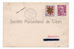1952 - CARTE POSTALE De DUNKERQUE (NORD) Avec GANDON PERFORE - 1921-1960: Période Moderne