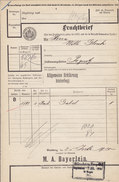 Koenigl. Bayer Staatseisenbahnen Frachtbrief M. A. BAYERLEIN Gabel NÜRNBERG Rang.-Bhf. 1910 PEGNITZ (2 Scans) - Historische Dokumente