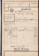 Koenigl. Bayer Staatseisenbahnen Frachtbrief MARTIN WIRSING Zuckerwarenfabrik BAYREUTH 1910 PEGNITZ (2 Scans) - Historische Dokumente