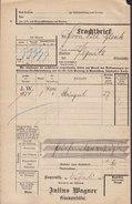 Koenigl. Bayer Staatseisenbahnen Frachtbrief JULIUS WAGNER Glasmanufaktur BAYREUTH 1910 PEGNITZ (2 Scans) - Historische Dokumente