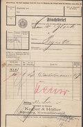 Koenigl. Bayer Staatseisenbahnen Frachtbrief KEGLER & HÖFLER NÜRNBERG NORDOSTBAHNHOF 1910 PEGNITZ (2 Scans) - Historische Dokumente