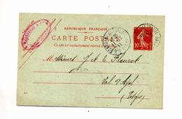 Carte Postale 10 C Semeuse Cachet Fontaine - Postal Stamped Stationery