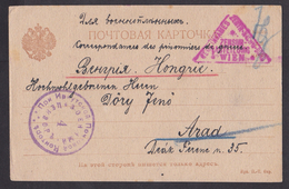 Russia: POW Prisoner Of War Postcard To Hungary, 1917, Censored, WW1 (traces Of Use) - 1917-1923 Republiek & Sovjetrepubliek