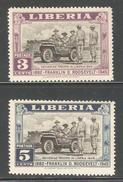 Liberia 1945,Franklin D.Roosevelt,Sc 296-297,F-VF Mint L Hinged*OG (SH-10) - Liberia