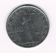 ) VATICAANSTAD  100 LIRE  PAUS  PIUS XII 1957 - Vatican