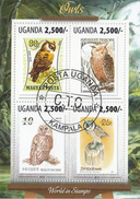 Uganda  1987  Owls  Hiboux  Birds  Vogel  Oiseaux  Fauna  4v  Cto  Used Souvenir Sheet    # 75321 - Owls