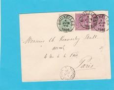 N° 45 Et 46 / Lettre (env. ) De BXL Vers Paris - 1884-1891 Léopold II