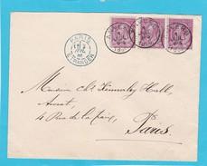 N° 46  (3 )  / Lettre Env. Suraffranchie D 'anvers Vers Paris - 1884-1891 Léopold II