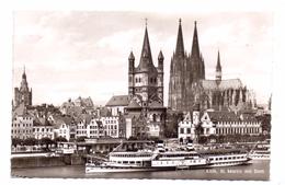 """BINNENSCHIFFE - RHEIN, Köln-Düsseldorfer Schaufelraddampfer """"BLUECHER"""", 1954 Vor Köln - Commerce"""