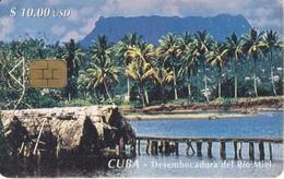 Nº 042 TARJETA DE CUBA DE LA DESEMBOCADURA DEL RIO MIEL (rozada) - Cuba