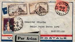 Lettre Paris-Montévidéo 1930 Par L'Aéropostale, Vignette Avec Cachet à Date! - Airmail