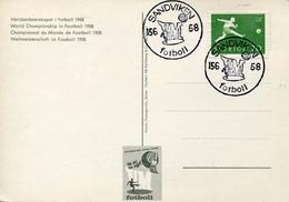 22401 Sweden,special Card And Postmark,sandviken,15.6.1958 World Football Champ 1958 - Fußball-Weltmeisterschaft