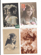 10131 - Lot De 4 CPA Petites Filles, Portraits, - Portraits