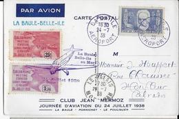 1938 - POSTE AERIENNE - CARTE Du CLUB JEAN MERMOZ De LA BAULE Avec VIGNETTE AERIENNE 1° VOL => BELLE ILE EN MER - Aviation