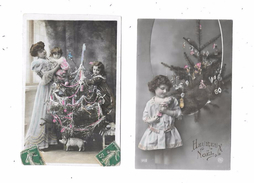 10132 - Lot De 2 CPA Fête, Noel, Enfants, Sapins, Jouets, - Noël