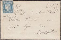 LETTRE.   14  MAI 1873. N° 60.  CORSE GC 3595.  ST-FLORENT-EN-CORSE POUR MONTPELLIER.  BOITE RURALE  =  G - Marcofilia (sobres)