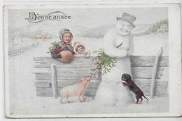 CPA Teckel Dachshund Dackel Chien Dog Circulé En 1916 Bonhomme De Neige Cochon - Dogs