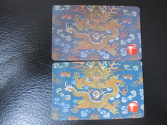 Definitive Issued Autelca Phonecard, Tapestries-dragon,used(two Different Color,dark Blue And Light Blue) - Hong Kong