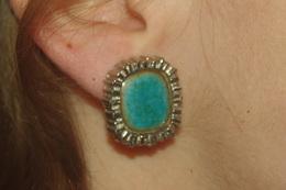 BOUCLES D´ OREILLES VINTAGE Métal EMAIL TURQUOISE - Earrings