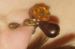 BOUCLES D´ OREILLES VINTAGE Perles De Verre Et POIRE En Métal - Earrings