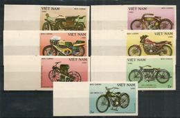 Motos Anciennes (centenaire De L'invention De La Motocyclette)  7 Timbres Neufs ** Non-dentelés Du Vietnam. - Motos