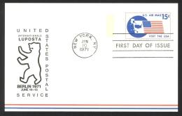 USA Sc# UXC11 (LUPOSTA Cachet) FD Cancel Postal Card (a) (New York NY) 1971 6.10 10c Map - Ganzsachen
