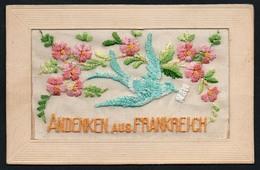 0430 - Alte Glückwunschkarte - Seide Bestickt - Andenken Aus Frankreich - Ansichtskarten