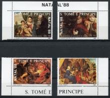 Sao Tome E Principe, 1988, Christmas, Natal, Painting, MNH, Michel 1088-1091 - Sao Tome Et Principe