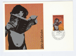 1989 LIECHTENSTEIN FDC Maximum Card  IYC CHILD READING, BOOK  Stamps Cover  Un United Nations - Maximum Cards