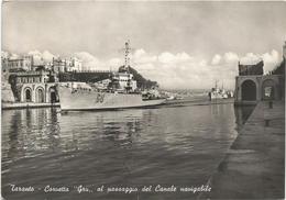 Y3752 Taranto - Corvetta Gru Al Passaggio Del Canale Navigabile - Navi Ships Bateaux / Viaggiata - Guerra