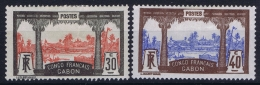 Gabon : Yv 40 + 42 MH/* Falz/ Charniere  1910 - Unused Stamps