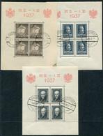 POLAND  1937 Visit Of The King Of Romania Set Of Three Blocks Used.  Michel Block 2-4 - Blocks & Sheetlets & Panes
