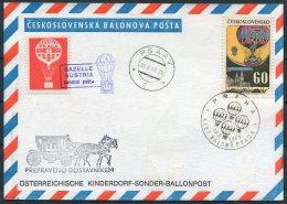 1968 Czech Balonova Postcard Praha. Austria Kinderdorf Sonder Ballonpost. Praga Gazelle Psary - Airmail