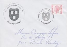 Enveloppe (1983-02-05, 9000 Gent) RB - Armoiries De La ' Gentse Schildersgilde ' - DL - Poststempels/ Marcofilie